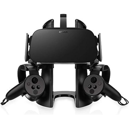 AFAITH Support Stand Casque VR, Présentoir 3D avec Support de contrôleur de Jeu pour Casque Oculus Rift HTC Vive Oculus Rift/Rift S Samsung Gear VR (Noir)