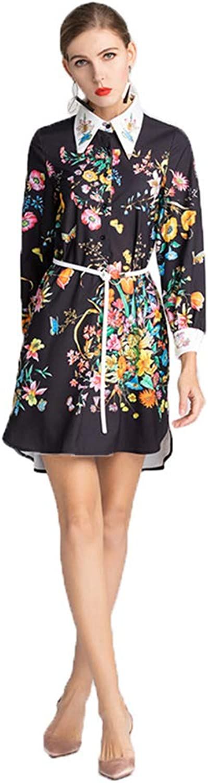 HECHEN Women's dress spring and summer butterfly flower print irregular lace skirt
