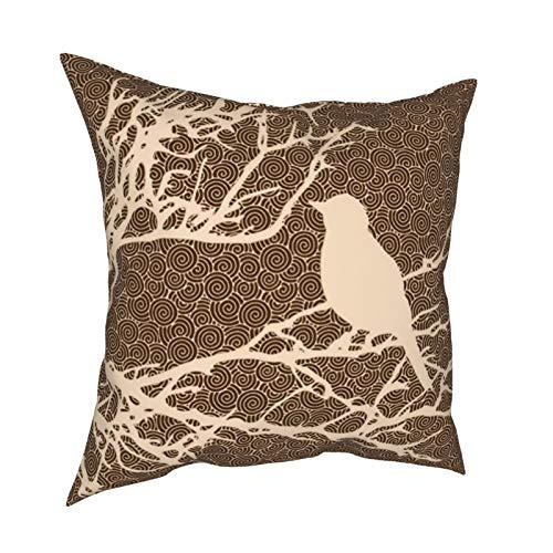 Funda de cojín con cremallera, diseño de pájaro en una rama, color beige contra marrón, para decoración diaria, funda de cojín con cremallera, para regalo, hogar, sofá, cama, coche, 45,7 x 45,7 cm