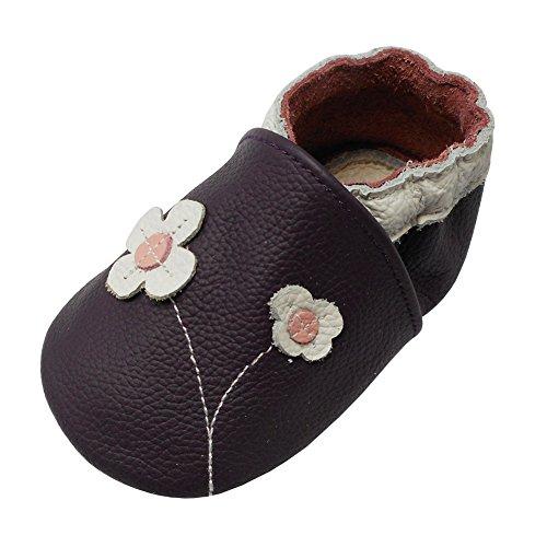 YALION Baby Mädchen Weiches Leder Lederpuschen Kleinkinder Krabbelschuhe mit Süßen Blumen Lila,EU 25/26=XXL