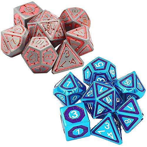 MxZas Spiel Würfelfarbe 24-seitige Metallwürfel Set Spiel Requisiten Zubehör (2 Sätze) Polyhedral-Würfel-Set (Color : Color 6, Size : 20mm)