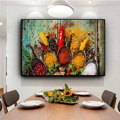 wZUN Cereal Spice Spoon Lienzo Pintura Carteles escandinavos e Impresiones Mural Cocina Comida imágenes Sala de Estar decoración del hogar 50x70cm