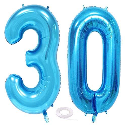 SNOWZAN Luftballon 30. Geburtstag Deko Blau Mädchen Zahl 30 Riesen Folienballon Helium Nummer 30 Luftballon Große Zahlen 30 Jahre XXL 30. Happy Birthday 32 Zoll Riese Zahl 30Geburtstag für Party