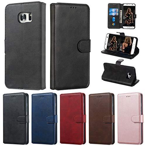 Careynoce Hülle für Samsung Galaxy S7 Edge,Einfarbig Kalbsleder PU Leder Brieftasche Flip Cover - mit Magnetisch Ständer Kartenfach Schutzhülle HandyHüllen für Samsung Galaxy S7 Edge - Schwarz