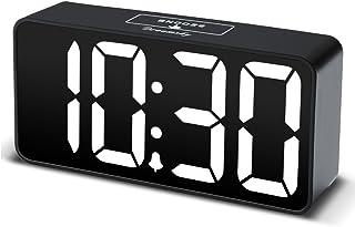 DreamSky Compact Digital Alarm Clock with USB Port for Charging, Adjustable Brightness Dimmer, White Bold Digit Display, 12/24Hr, Snooze, Adjustable Alarm Volume, Small Desk Bedroom Bedside Clocks.
