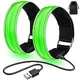 lanpard 2pcs Brazalete LED Recargable con Banda Reflectante Running, Luz para Correr Andar Ciclismo (Cable USB y Bolsa incluidos) - Elástico Verde