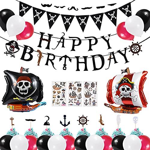Décoration fête Anniversaire,Pirates Decoration Set,Joyeux Anniversaire Bannière Pirate Ballons Guirlande Topper Gateau Autocollants de Pirate Pirates Fournitures Accessoires de Fête Garçons Filles