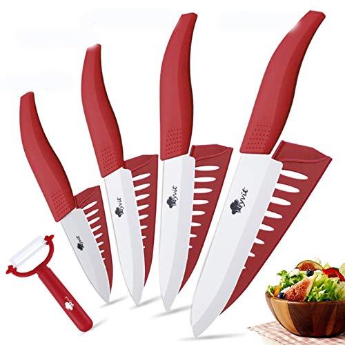 Cuchillo del cocinero Cuchillos de cerámica Cuchillos de cocina 3 4 5 5 pulgadas CHEF CHEF COCK SET + PEELER BLANCO BLANCO BLADE HABLA MULTI-color HANDA CALIDAD (Color : MULTI)