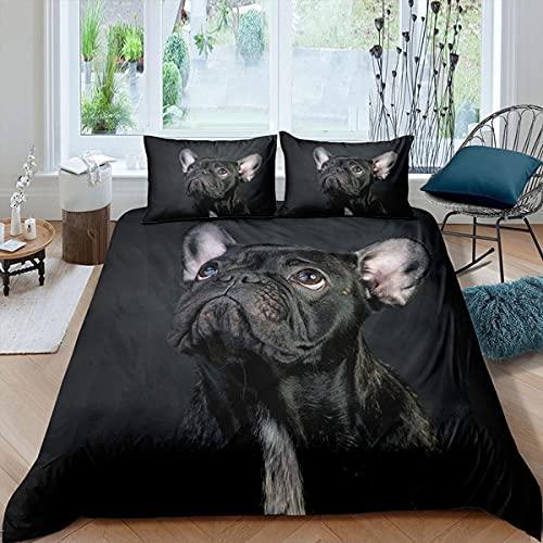 Bettwäsche 135x200 Schwarze FranzöSische Bulldogge Mikrofaser Bettbezug Set für Kinder mit Reißverschluss und 2 Kissenbezug Weiche Atmungsaktiver Bettwäsche Sets