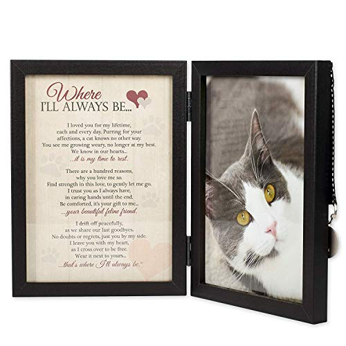 Where I'll Always Be Cat Memorial Photo Frame - Thoughtful Pet Memorial Gift (Frame with Pet Tag)