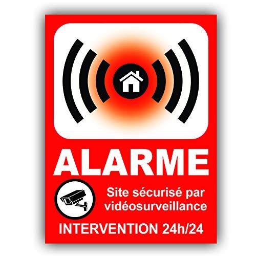 Panneau Alarme en PVC + 4 Trous pour Fixation Site sécurisé par vidéosurveillance - Intervention 24h/24 - HRB (133 x 100 mm)