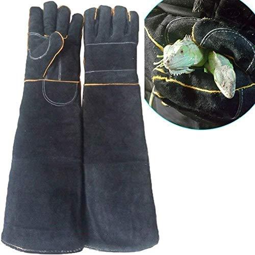 Hund Katze Haustier Tier Anti-Biss-Handschuhe Anti-Schlangenbiss Anti-Stich-Rettungsstation Schutz Lange Dicke Lederhandschuhe-Schwarz