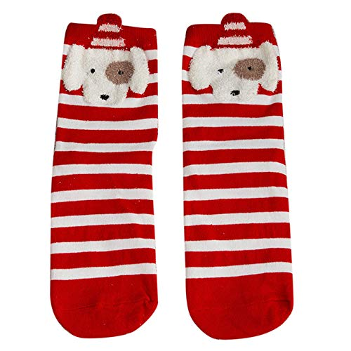 WINJEEWomen Christmas 3D Cartoon Animal Crew Socks Kawaii New Year Mid-Calf Hosiery Crew Socks N
