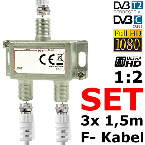 TronicXL 3X F-Stecker Kabel + SAT Splitter DVBC Antennenverteiler Verteiler Weiche Splitter zb für DVBC DVBT2 Kabelfernsehen Ewe Antel NEFtv Unitymedia primacom NetCologne NetKassel Vodafone Set etc