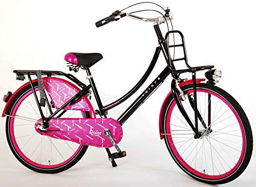 .Volare Bicicleta Niña Dolce 24 Pulgadas Freno Delantero al Manillar y Trasero Contropedal Shimano Nexus 3 Velocidades Portabultos Negro Púrpura 95% Montado