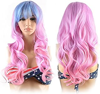 Image Long Full Curly Wavy Multi-Color Lolita Halloween Wigs for Women Cosplay Costume Party with Wig Cap Comb and Rubber Band -- Light Blue/ Pink
