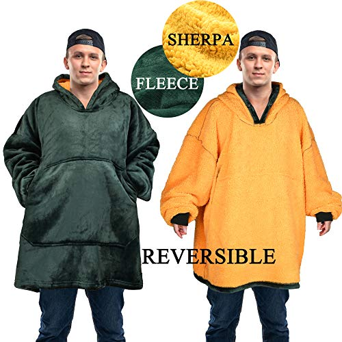 Tirrinia Oversized Sherpa Hoodie Sweatshirts Blanket for Sport Professional and College Football Teams Fan/ Pocket Neckline Magnet Buckle/ Giant Pocket/ For Adults/ Green and Yellow.