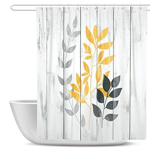 SUMGAR Badezimmer-Gardinen gelb & grau Duschvorhang mit Blättern rustikaler Landhaus-Badvorhänge Polyesterstoff wasserdicht schimmelresistent mit 12 weißen Vorhangringen 180x180cm
