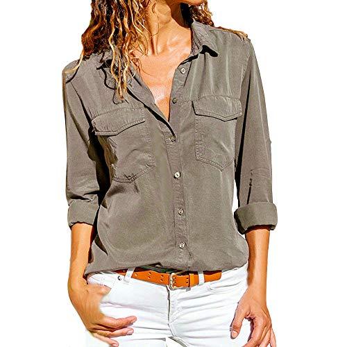 ITISME FRAUEN BLUSE Damen Casual Langarm Farbblock Streifen Button T Shirts Tops...