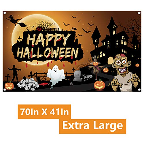 FEPITO Banner di Halloween Tessuto extra large 70In X 41In Halloween Sfondo Banner Zucca Spooky Decorazioni da parete per decorazioni di Halloween