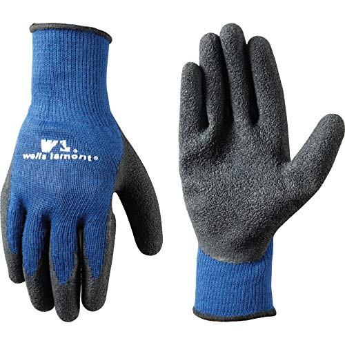Men's Coated Grip Work Gloves with Latex Coating, Large (Wells Lamont 524), Black on Blue