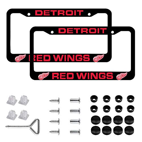 "FASHIONON Car License Holder for Detroit Red Wings License Plate Frames – Black Aluminum – 12.5"" x 6.5"" Red Wings License Plate Holder"