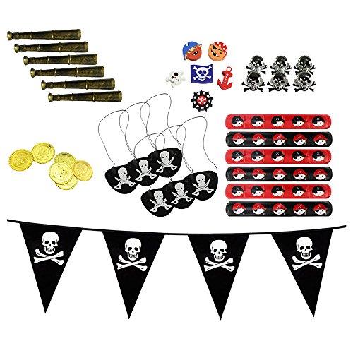 COM-FOUR® Set de obsequios de 37 Piezas Piratas, golosinas y Recuerdos para cumpleaños de niños, Accesorios para Fiestas Piratas (Regalos de Fiesta - 037 Piezas - f. 6 niños)