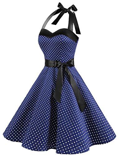 Dresstells Neckholder Rockabilly 50er Polka Dots Punkte 1950er Kleid Petticoat Faltenrock Navy White Dot M - 3