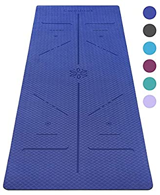 Ewedoos Eco Friendly Yoga Mat with Alignment Lines, TPE Yoga Mat Non Slip Textured Surfaces ¼-Inch Thick High Density Padding to Avoid Sore Knees, Perfect for Yoga, Pilates and Fitness (Dark Blue)
