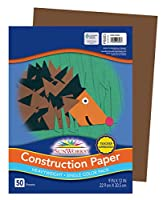 Pacon SunWorks Construction Paper, 9 x 12, 50-Count, Dark Brown (6803) by Pacon