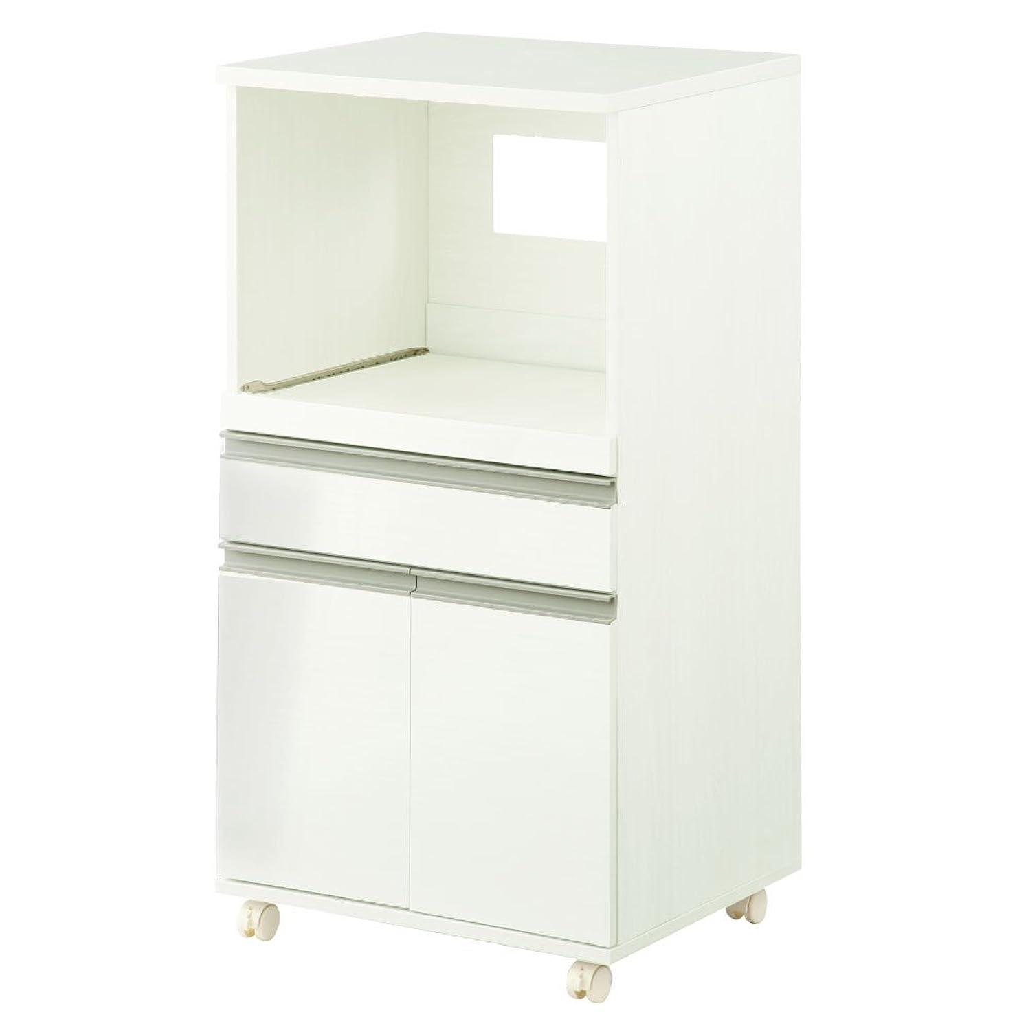 感じる延ばす学生ぼん家具 【完成品】 レンジ台 食器棚 木製 コンセント付き 収納 幅54cmホワイト