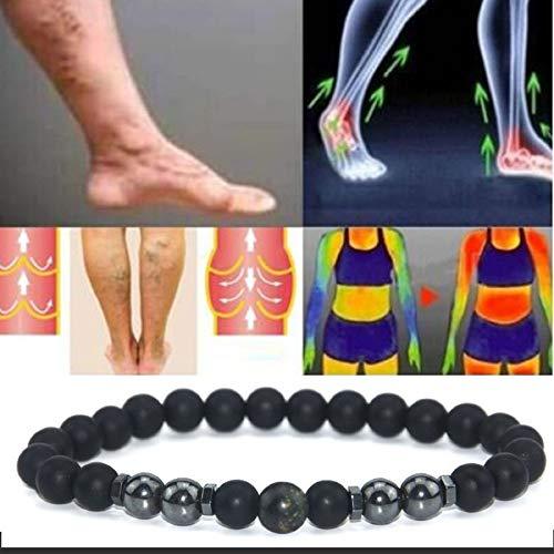 ZLKMQ Anti-Swelling Black Obsidian Fußkette, 2PCS Gewichtsverlust Magnet Fußkette, Obsidian Perlen Armband, für Männer Frauen Geschenke