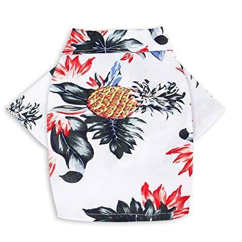 ZYQXI Hundekleidung Lässige Sommer Hund Katze Shirt Hawaii Strand Blumen Ananas Muster Druck T-Shirt Chihuahua Französisch Bulldogge Reisekleidung