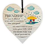 Best Friend Present For Women Friendship Gift Birthday Beautiful Girlfriend Miss Thinking of You Wooden Hanging Heart Plaque Cute Funny Inspirational Quote Special Motivational Ornament Decoration