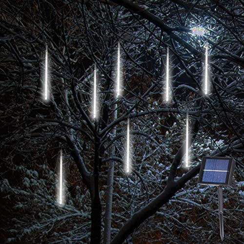 Solar Falling Rain Lights, 8 Tubes Meteor Shower Lights, Romantic Snow Fall 144 LED Icicle Lights for Christmas Tree, Party, Holiday, Garden Decoration(White)
