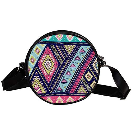 Bandolera redonda pequeña bolso de mano para mujer, bolso de hombro de moda, bolso de mensajero de lona, bolsa de cintura, accesorios para mujer, mandala india