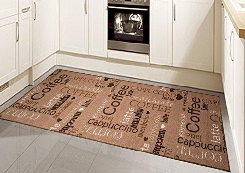 Teppich Modern Flachgewebe Gel Läufer Küchenteppich Küchenläufer Braun Beige Schwarz Creme mit Schriftzug Coffee Cappuccino Espresso Macchiato Größe 80x150 cm