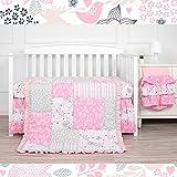 Kiddos 3-Piece Baby Crib Bedding Set for Girls | Luxury Microfiber |Floral (Pink Dream)