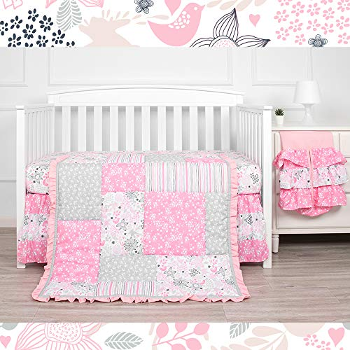 Kiddos 3-Piece Baby Crib Bedding Set for Girls   Luxury Microfiber  Floral (Pink Dream)