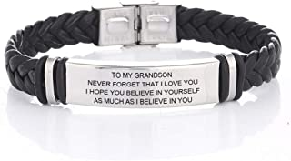LiFashion LF 316L Stainless Steel Name Customized to My Grandson Bracelet Braided Leather Sentiment Motivational Boys Cuff Bracelets for Son for Birthday from Grandpa Grandma,Engraving
