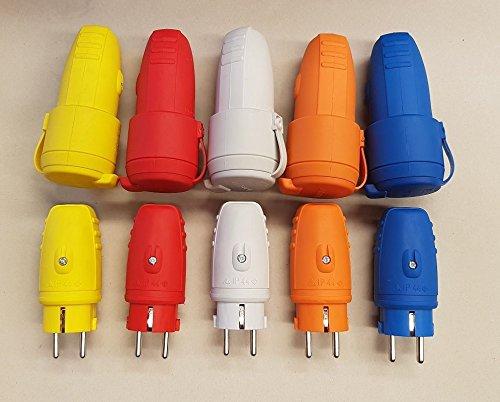Schuko Gummistecker Stecker und Kupplung Set 230V IP44 mehrere Farben, Farbe:gelb