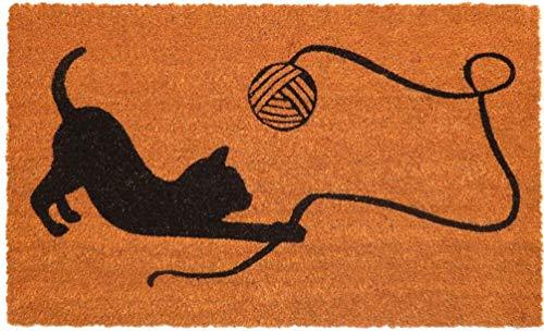 """oKu-Tex Fußmatte   Fußabtreter   Türmatte   Eingangsmatte   """"Raja""""  spielende Katze   Aufdruck   Kokosmatte Kokos   für außen   rutschfest   45x75 cm"""