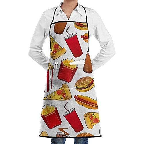 Apron Hamburger Papas A La Francesa ijs pizza keuken gepersonaliseerde vrouwen meisjes kunstenaar grill keuken slabbetjes volwassenen schort schilderij