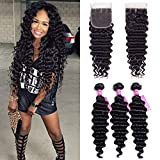 VRVOGUE Human Hair (8' 10' 12') Deep Wave Brazilian Bundles with 8 Inch 4x4 Middles Part Lace Closure for Wome Bob Wig 100% Unprocessed Natural Color Brazilian Virgin Weave Hair Extensions