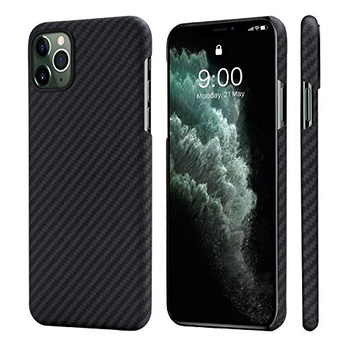 pitaka Custodia iPhone 11 PRO Max Cover per iPhone 11 PRO Max Apple Ultra Slim Sottile Resistente in Fibra Aramidica Serie MagEz Case Elegante Cover Magnetica per Supporto Auto Nera/Grigia Diagonale