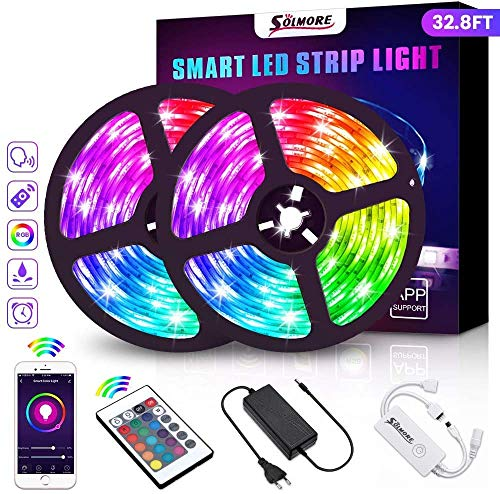 Wifi Tiras LED, SOLMORE Tira Inteligente RGB 2x5M 300 LEDs Cinta luminosa con Telecomando Wifi Tira luz Smart Strip LED Tiras Wifi Impermeable