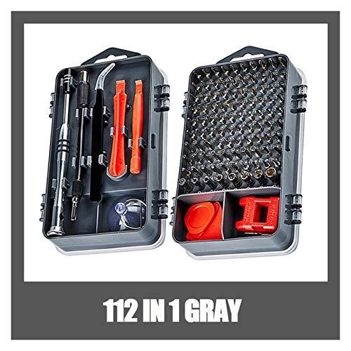 XIAOFANG 112 en 1 Destornillador Set Destornillador Magnético bit Torx Torx Multi Móvil Teléfono Herramientas de reparación Kit Mano de Dispositivo electrónico Herramienta (Color : 112 IN 1 Gray)