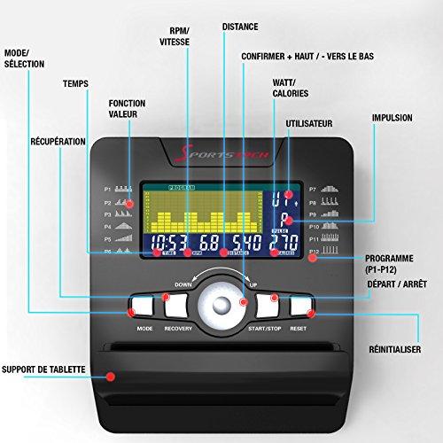 """Sportstech Vélo d'Appartement ergomètre ESX500, Vidéos Live et multijoueur APP + écran 5,5"""", Poids d'inertie 12KG, Compatible avec la Ceinture pulsée Entraînement"""