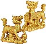 aipipl Esculturas Decoración, Adornos y Figuras Feng Shui Latón Dorado Qilin/Kylin Atraen Riqueza y Buena Suerte para -Smallset