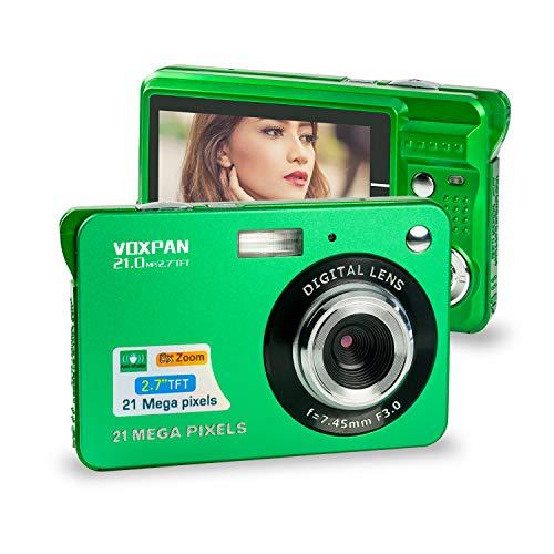 VOXPAN Digitalkamera für Anfänger, 8X Digital Zoom HD Digitalkamera Fotoapparat 21 MP 1080P HD 2,7 Zoll Foto Kompaktkamera Mini-Fotokamera Klein Geschenk für Kinder Jugendliche Student (Grün)